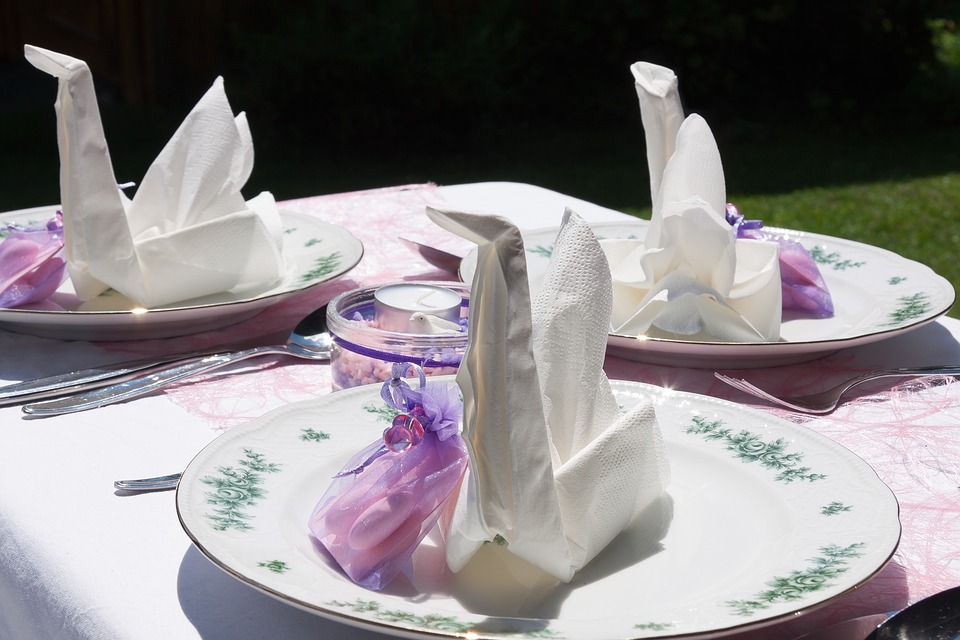 Baptism, Table Decorations, Celebration, Plate, Napkin